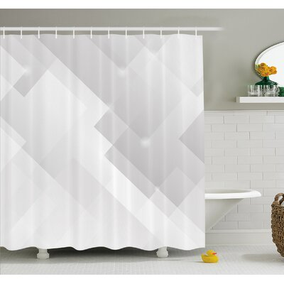 "Abstract Light Tones Featured Perspective Stripes Reflection Rays Artisan Artwork Shower Curtain Set Size: 70"" H x 69"" W"