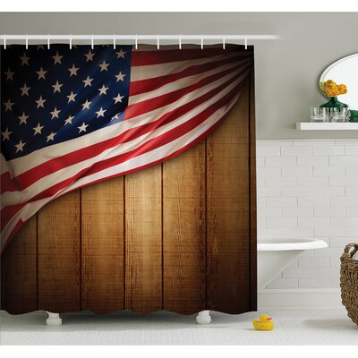 """USA Design on Vertical Lined Retro Wooden Rustic Back Glory Country Image Shower Curtain Set Size: 70"""" H x 69"""" W"""