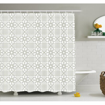 "Arabesque Pattern Mosaic Tiles with Moroccan Floral Traditional Symmetric Artwork Shower Curtain Set Size: 75"" H x 69"" W"