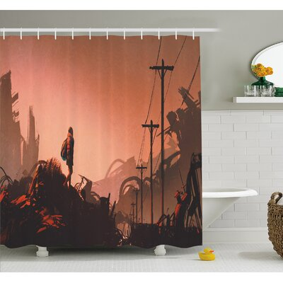 "Cartoon Hiker Looks at Abandoned City Urban Lonely Girl Image Shower Curtain Set Size: 70"" H x 69"" W"