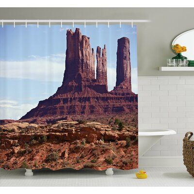 """Famous Monument Valley Grand Canyon Rocky Cliffs USA Arizona Print Shower Curtain Set Size: 75"""" H x 69"""" W"""