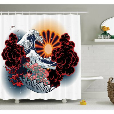 """Tattoo Brave Native American Warrior Chief of Tribe with Noble Horse Shower Curtain Set Size: 84"""" H x 69"""" W"""