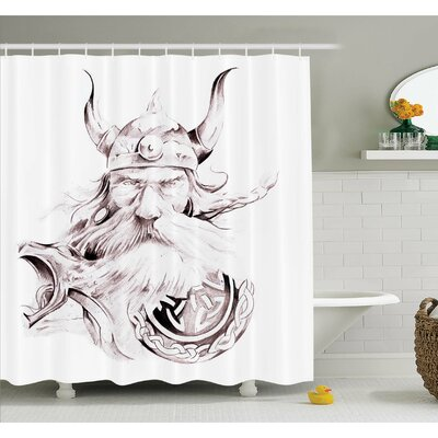 "Tattoo Head of Wolf the Fierce Warrior Big Dog of the Forest Winter Themed Image Shower Curtain Set Size: 70"" H x 69"" W"