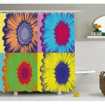 "Pop Art Inspired Colorful Kitschy Daisy Flower Hard-Edged Western Design Shower Curtain Set Size: 70"" H x 69"" W"