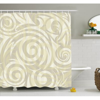 "Vintage Swirling Floral Design with Authentic Faded Natural Effects Shower Curtain Set Size: 70"" H x 69"" W"