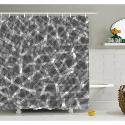 """Grunge Haze Digital Display with Fractal Pieces Parts Lines Contemporary Bents Shower Curtain Set Size: 84"""" H x 69"""" W"""