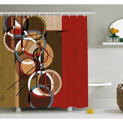 """Retro Surreal Abstract Circular and Square Shaped Art Lines on Murky Base Shower Curtain Set Size: 70"""" H x 69"""" W"""