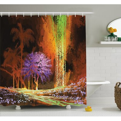 """Digitally Saturated Tropical Scene in Extreme Haze Tones Exotic Artwork Shower Curtain Set Size: 70"""" H x 69"""" W"""