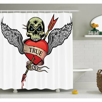 "Tattoo Skull with Diamond Eyes and Floral Vine Art Renaissance Inspired Shower Curtain Set Size: 75"" H x 69"" W"