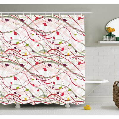 """Bizarre Curl Lines Like Tree Branches with Leaves Spring Summer Theme Shower Curtain Set Size: 70"""" H x 69"""" W"""