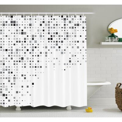 """Pattern Composed of Geometric Elements Radiant Rectangle Parallel Picture Shower Curtain Set Size: 70"""" H x 69"""" W"""