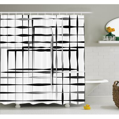 """Minimalist Image with Simplistic Spaces and Spare Asymmetric Grids Shower Curtain Set Size: 70"""" H x 69"""" W"""