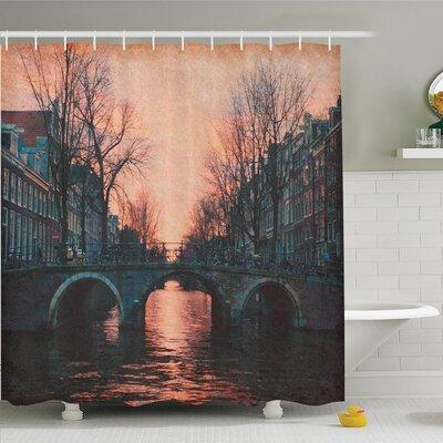 "Tamekia Vintage Bridge Shower Curtain Set Size: 84"" H x 69"" W"