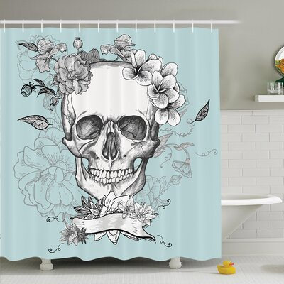 """Nathanael Skull and Flowers Shower Curtain Set Size: 70"""" H x 69"""" W"""