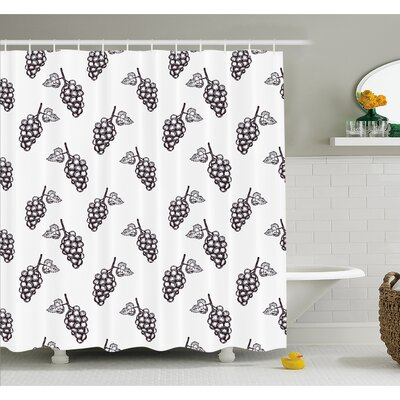 """Grapes Hand Drawn Sketchy Fruits Summer Ripe Simplistic Farmers Graphic Artwork Shower Curtain Set Size: 75"""" H x 69"""" W"""