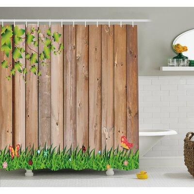 "Farm House Fresh Spring Season Jardin with Butterflies and Ladybugs in Park Scene Artwork Shower Curtain Set Size: 70"" H x 69"" W"