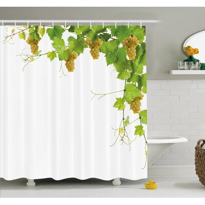 """Grapes Collage of Vine Leaves on Bunch Farming Natural Rural Food Berry Image Shower Curtain Set Size: 70"""" H x 69"""" W"""