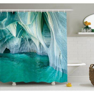 "Marble Caves at European Mediterranean Lake Geologic Eroded Art Photo Shower Curtain Set Size: 70"" H x 69"" W"