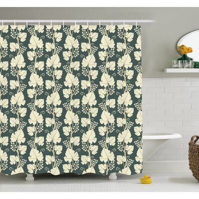 """Grapes Ornate Lattice Pattern Floral Style Ornate Agriculture Vineyard Branch Shower Curtain Set Size: 70"""" H x 69"""" W"""