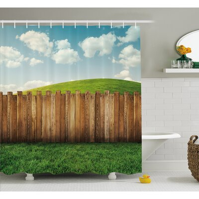 """Farm House Wooden Garden Fence on Grassland Pastoral Environment with Cloudy Sky Shower Curtain Set Size: 84"""" H x 69"""" W"""