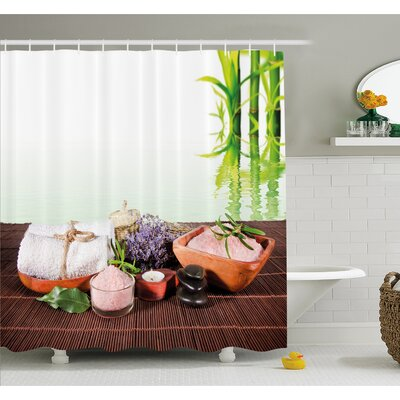 """Spa Bamboo Background with Towel Flowers Candle and Zen Hot Massage Stones Shower Curtain Set Size: 70"""" H x 69"""" W"""