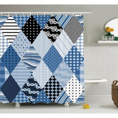 "Farm House Geometric Diamond Shaped Lines with Various Nostalgic Fashioned Old Pattern Shower Curtain Set Size: 70"" H x 69"" W"