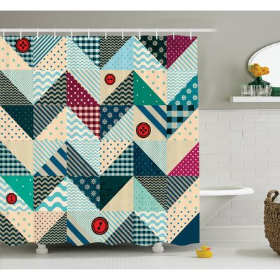 "Farm House Chevron Patchwork with Vintage Stylized Line and Retro Button Forms Kitsch Artsy Shower Curtain Set Size: 84"" H x 69"" W"