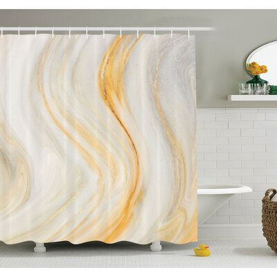 "Psychedelic Wavy Brushstroke Marble with Blurry Splash Effects Art Decor Shower Curtain Set Size: 70"" H x 69"" W"