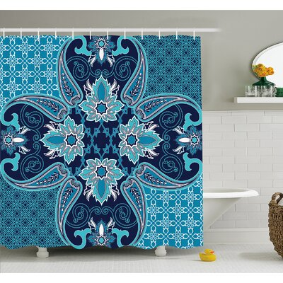 "Floral Paisley Design Bohemian Style Vintage Flower Petal Pattern Shower Curtain Set Size: 70"" H x 69"" W"
