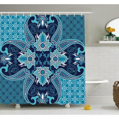 """Floral Paisley Design Bohemian Style Vintage Flower Petal Pattern Shower Curtain Set Size: 75"""" H x 69"""" W"""