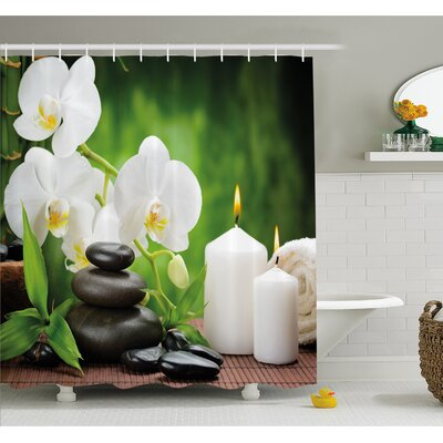 """Spa Zen Stones with Orchid and Burning Candles in a Romantic Harmony Shower Curtain Set Size: 70"""" H x 69"""" W"""