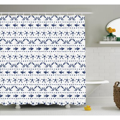 "Yatch Themed Design with Fish Starfish and Anchor Nautical Print Shower Curtain Set Size: 84"" H x 69"" W"