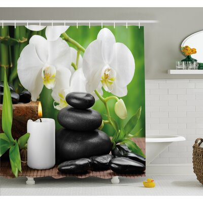 """Spa Zen Hot Massage Stones with Orchid Candles and Magnificent Nature Shower Curtain Set Size: 70"""" H x 69"""" W"""