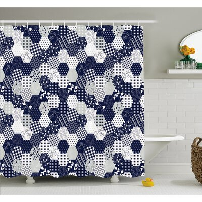 "Octagon Patchwork Style Pattern Image with Dots Stars Squares Stripes Shower Curtain Set Size: 84"" H x 69"" W"