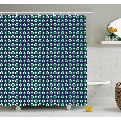 "Cute Floral and Point Design with Round Abstract Pattern Shower Curtain Set Size: 70"" H x 69"" W"