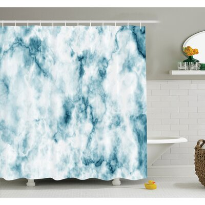 """Fluffy Cloud Skyline Like Marble Motif with Grunge Features Art Image Shower Curtain Set Size: 70"""" H x 69"""" W"""