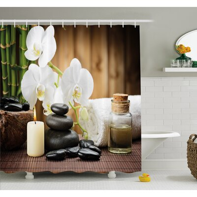 """Spa Asian Style Decoration with Zen Stones Candle Flowers and Bamboo Shower Curtain Set Size: 70"""" H x 69"""" W"""