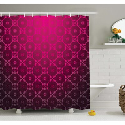 """Medieval Style Endless Bound Square Shaped Stripe Middle Age Damask Motif Shower Curtain Set Size: 70"""" H x 69"""" W"""