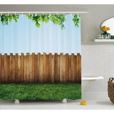 """Farm House Rustic Plank over Field Meadow Tranquil Nature Yard Neighborhood Image Shower Curtain Set Size: 75"""" H x 69"""" W"""