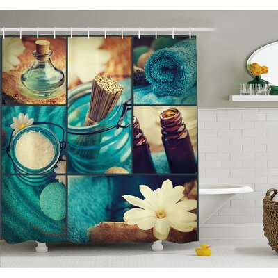 """Spa Themed Daisies Scents Towels and Incense Artwork Collage Shower Curtain Set Size: 84"""" H x 69"""" W"""