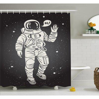 "Outer Space Pop Art Astronaut Saluting with Speech Bubble Comet Adventure Traveler Shower Curtain Set Size: 70"" H x 69"" W"