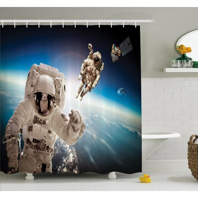 """Outer Space Cosmonaut Crew in the Universe Astronomy Atmosphere Astral Journey Image Shower Curtain Set Size: 84"""" H x 69"""" W"""