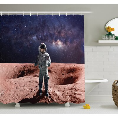 """Outer Space Astronaut Mercury before Milky Way Cosmos Meteor Fantasy Art Shower Curtain Set Size: 70"""" H x 69"""" W"""