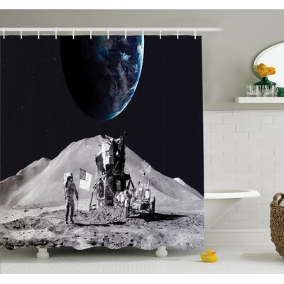 """Outer Space Moon US Spaceman Launching on the Exploring Dark Matter Orbit Luna Design Shower Curtain Set Size: 70"""" H x 69"""" W"""