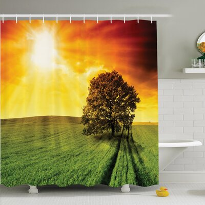 """Nature Crop Field Countryside Shower Curtain Set Size: 84"""" H x 69"""" W"""