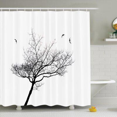 "Tree Flying Birds Shower Curtain Set Size: 75"" H x 69"" W"
