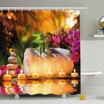 """Spa Asian Spa Joy in the Garden with Romantic Candles and Orchids Shower Curtain Set Size: 70"""" H x 69"""" W"""