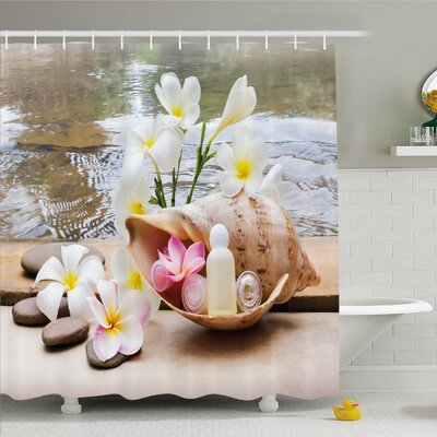 """Spa Trio Bubble Bath with Cream and Liquid Soap with Cute Flowers and Sea Shell Shower Curtain Set Size: 70"""" H x 69"""" W"""
