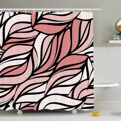 """Curving Mix Twisted Forms with Tangled Lines Knotty Color Illustration Image Shower Curtain Set Size: 70"""" H x 69"""" W"""