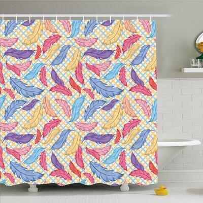 "Different Vane Figures on Square Shape Striped Backdrop Print Shower Curtain Set Size: 84"" H x 69"" W"